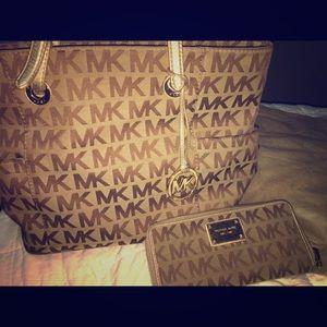 Michael Kors signature bag and wallet